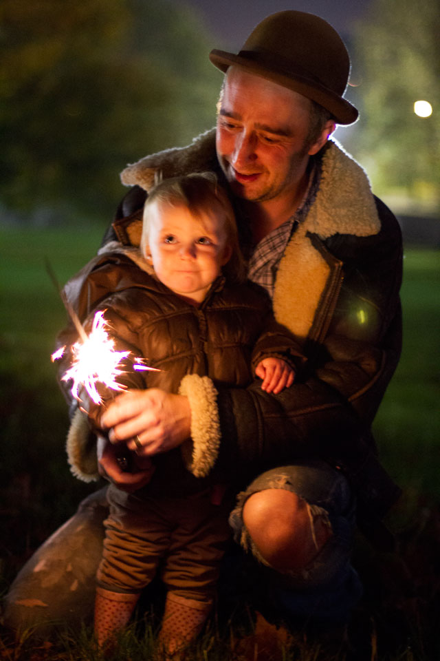Conrad & River Sharp enjoying a sparkler